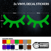 2x Sleepy Eyes / Lashes Vinyl Decal Stickers for Childs Bedroom Wall Any Colour!