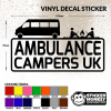 AMBULANCE CAMPERS UK - Camper Van - Vinyl Decal Sticker - Choice of colours!
