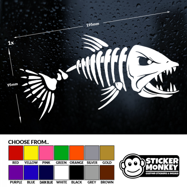 Angry Fish II fishing logo sticker decal angling fly tackle box vinyl sticker